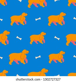 Vector illustration. Seamless pattern with funny cartoon style icon of english cocker spaniel. Simple background with cute family dog.