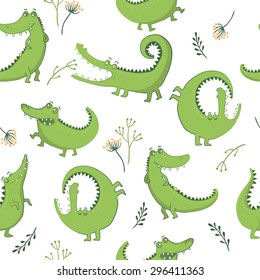 Vector illustration. Seamless pattern with funny crocodiles.
