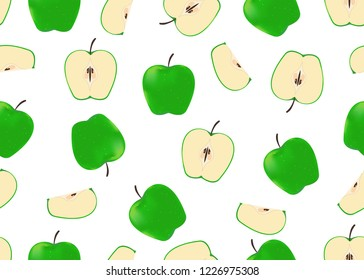 Vector illustration of seamless pattern green apples on white background