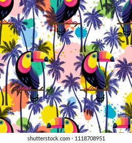 Vector illustration, seamless pattern with hand drawn palm trees and toucans on an ink blots modern background.