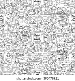 Vector illustration of seamless pattern with hand drawn doodle travel elements