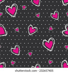 Vector illustration seamless pattern with hearts