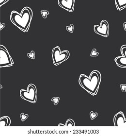 Vector illustration seamless pattern with hearts black-white