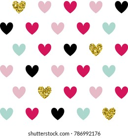 Vector illustration, seamless pattern with hearts. Valentine's day background.