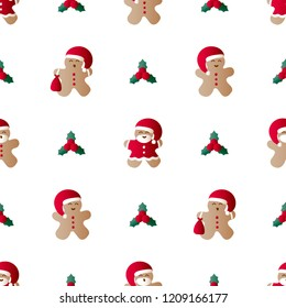 Vector illustration seamless pattern with icons of christmas leaf, gingerbread men with gift bag, red Santa Claus' clothes and beard on a white background