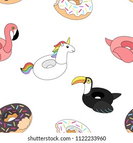 Vector illustration: seamless pattern  inflatable swimming accessories rubber Unicorn with rainbow mane, pink Flamingo, black Toucan and two donuts  in cartoon style isolated on white background