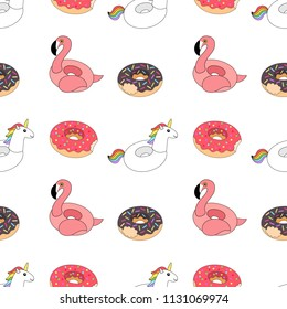Vector illustration: seamless pattern  inflatable swimming accessories rubber Unicorn with rainbow mane, pink Flamingo and two donuts pink and chocolate in cartoon style isolated on white background