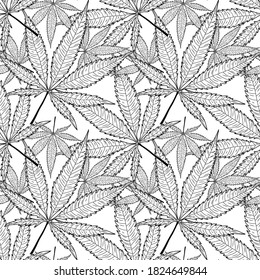 Vector illustration. Seamless vector pattern. isolated on white background sketched black contour of cannabis leaf. minimalistic drawing of marijuana.