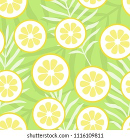 Vector illustration: seamless pattern with mojito cocktail texture - yellow flat lemon pieces icons in chaotic order in and floral leaves style isolated on green background