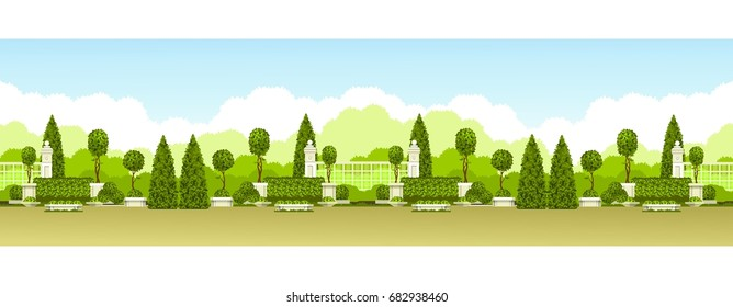 Vector illustration seamless pattern panoramic view of public park with a hedge of topiary trees and a place for relaxation