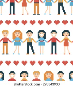 Vector illustration. Seamless pattern with pixel people.