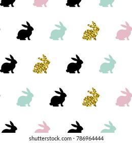 Vector illustration, seamless pattern with rabbits. Easter holiday background.