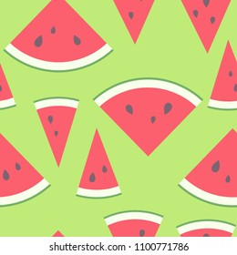 Vector illustration: seamless pattern with red cone flat watermelon pieces icons with black seeds and green peel in retro style isolated on pistachio background
