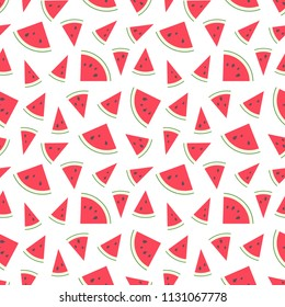 Vector illustration: seamless pattern with red flat cone watermelon pieces  with black seeds and green peel isolated on white background. For summer fabrics and wallpapers.