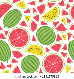 Vector illustration: seamless pattern with red and yellow flat cone, semicircle and circle pieces and entire watermelons icons with black seeds and green peel isolated on white background.