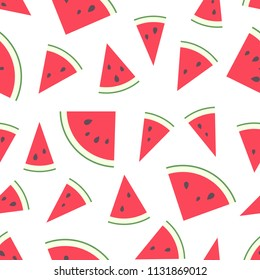 Vector illustration: seamless pattern with red flat cone watermelon pieces  with black seeds and green peel isolated on white background.