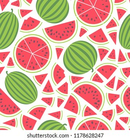Vector illustration: seamless pattern with red flat cone, semicircle and circle pieces and entire watermelons icons with black seeds and green peel isolated on white background.
