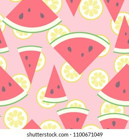 Vector illustration: seamless pattern with rosy lemonade - red cone flat watermelon pieces icons with black seeds?, green peel and lemon slices in retro style isolated on pink background