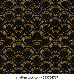 Vector illustration of seamless pattern with semicircles in art deco style. Golden glittering texture