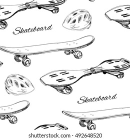 Vector illustration of seamless pattern Skateboards with helmet. Extreme Sport wrapping paper, wallpaper.