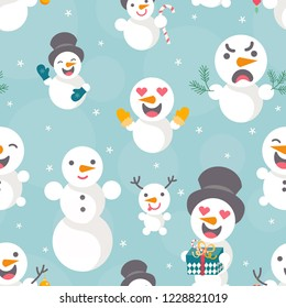 Vector illustration: seamless pattern with Snowmen with different emotions with sparkles confetti isolated on blue background. Design for Christmas scrapbooking, wallpaper, fabics, wrrapping paper
