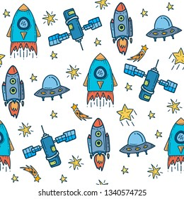 Vector Illustration. Seamless pattern from space elements on white background. Good for card, poster, banner, invitation, postcard, icon. EPS 10