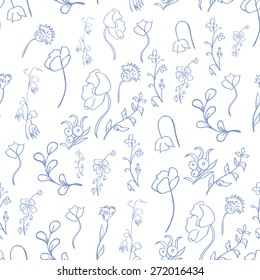 Vector illustration - seamless pattern with stylized meadow and garden flowers and leaves hand-drawn in outline style on a white background.