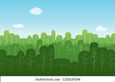 Vector illustration of seamless pattern with various autumn trees and blue sky background.