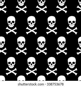 Vector illustration seamless pattern white skull and crossbones on black background.