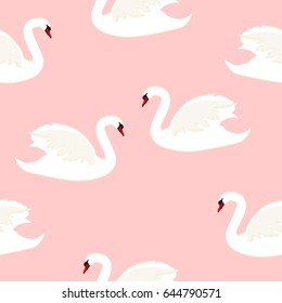 Vector illustration seamless pattern with white bird swan isolated on pink background.