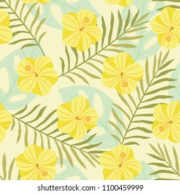 Vector illustration: seamless pattern with yellow tropical exotic flowers, palm leaves, jungle leaf, hibiscus on green background. Floral elements isolated for greeting card, fabric, wallpaper