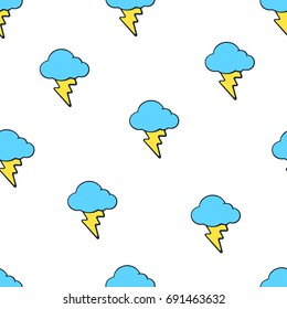 Vector illustration. Seamless pattern with yellow electric lightning bolts and blue clouds on white background. Weather symbol. Pattern with contour