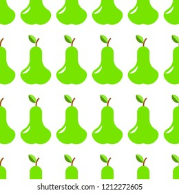 Vector illustration. Seamless pettern of pear on white background. Design for kitchen, curtain, wallpaper, wrapping paper, gift, napkins.