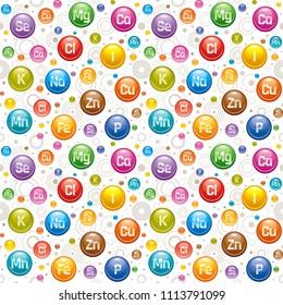 Vector illustration seamless pill pattern 3d realistic vitamin mineral supplement icon set. Calcium chlorine copper iron iodine potassium magnesium manganese sodium phosphorus selenium zinc logo