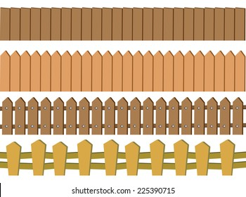 Vector illustration of seamless rustic wooden fence design isolated on white background