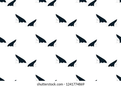 Vector illustration of seamless shark, creative repeating of texture for printing, wrapping, wallpaper, fabric, and textile.