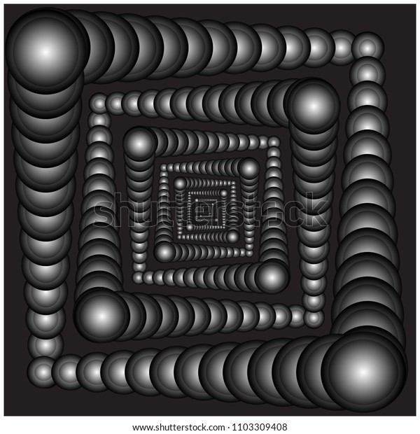 Vector illustration of seamless spheres in pattern form on black background