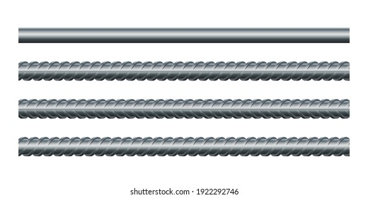 Vector illustration seamless steel rebars on white background. Set of realistic metal rods and bars for building and construction. Endless rebars. Metal reinforcement steel. Construction armature.