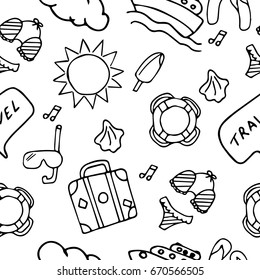 Vector illustration. Seamless summer vacation pattern. Painted in hand
