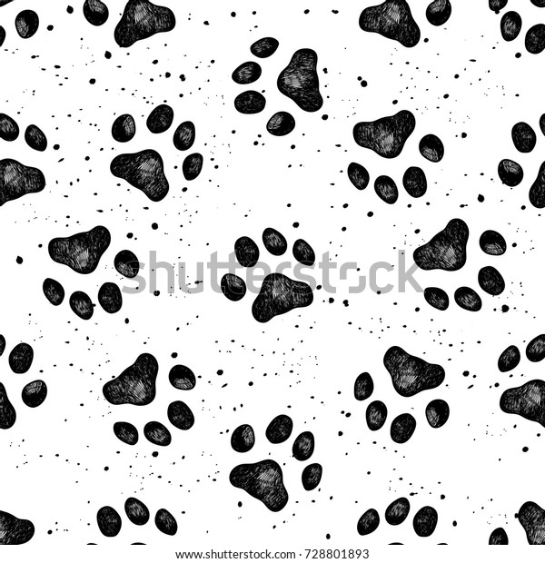 47e173596ddb Vector illustration seamless texture composed with sketches of dog paw  prints.