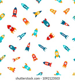 Vector illustration: seamless texture with flat  different bright rocket ships icons flying isolated on white background. Project start up and development process. Innovation product and management.