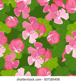 Vector illustration. Seamless texture with flowers and leaves of geraniums.