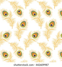 Vector illustration seamless texture, pattern, background with peacock feather.