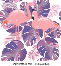 vector illustration of seamless tropical background flamingos, tropical leaves. ultra violet color texture abstract background.