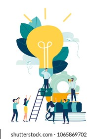 vector illustration, search for new ideas, teamwork in the company, brainstorming, fantasy flight, thought process, balloon in the form of a light bulb