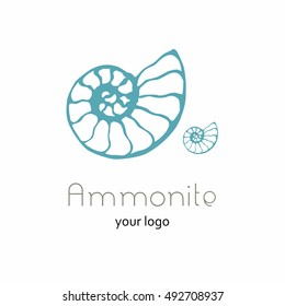 Vector illustration with seashell nautilus. Object for logo, card, flyer. Minimalist vector sign for logo, emblem, banner. Hand drawn illustration with ammonite fossil in modern style. Ancient shell.
