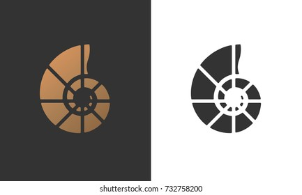 Vector illustration with seashell nautilus. Object for your logo, card, or flyer.