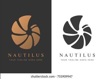 Vector illustration with seashell nautilus. Object for your logo / card / flyer.