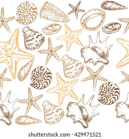 "The vector illustration ""seashells seamless pattern"" for design"