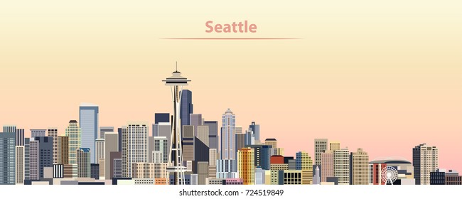 vector illustration of Seattle city skyline at sunrise